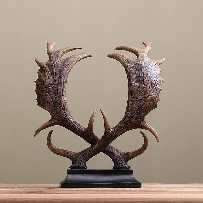 忆家 欧式复古风格装饰品 创意摆设客厅摆件 驼鹿角z